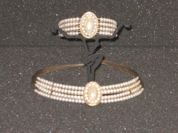 Vintage Faux Pearl Choker and Bracelet Set