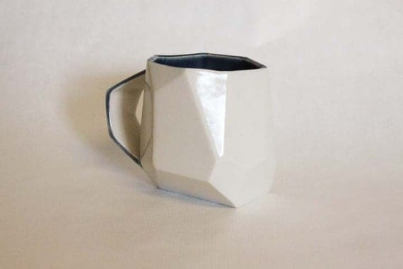 Cream and Navy Blue Faceted Mug - Unusual and Creative Gift