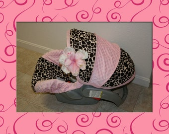All Minky Giraffe and Pink with a flower- Custom Infant Car Seat Cover