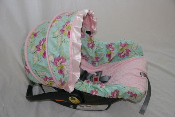 Girly Car Seat Covers: Girly Girl Aqua Floral Infant Car Seat Cover By BABYCOVERS2010