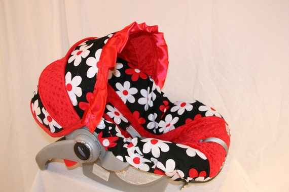 Red & White Daisy Satin Red ruffle- Infant car seat cover- Custom Order