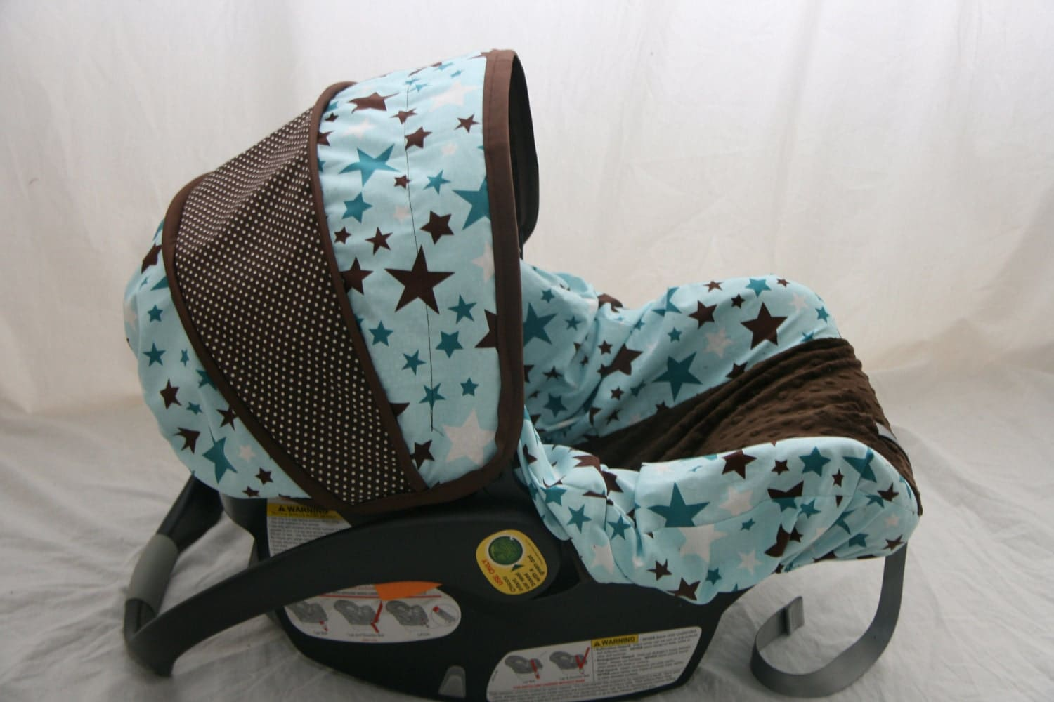 Last One Baby Boy Stars Car Seat Cover Blue And Brown With