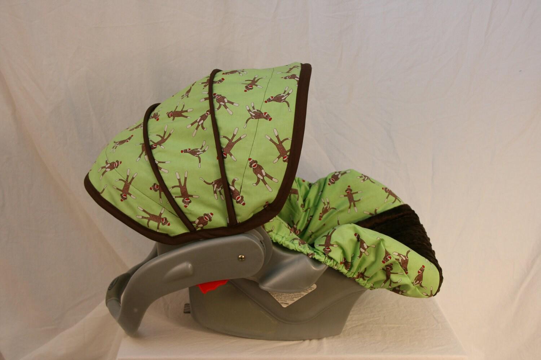 Last One Sock Monkey Infant Car Seat Cover Custom Order