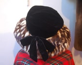 SALE: 60s velvet and spotted fur brimmed hat by John Jr.