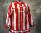 Early  Skate Cape circa 1850 red white striped velvet