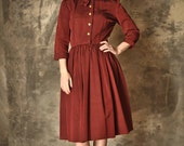 1940s red stripe jaunty school teacher dress