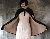 Black Cape Edwardian Era Textured Silk
