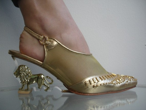 80s Clear Lucite Wedge Gold Lion Heels