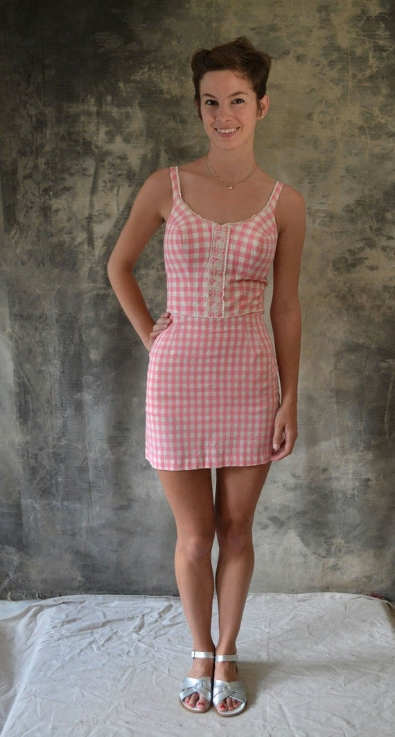 50s pink gingham swimsuit