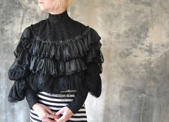 Steampunk Victorian / Edwardian Black Lace Blouse