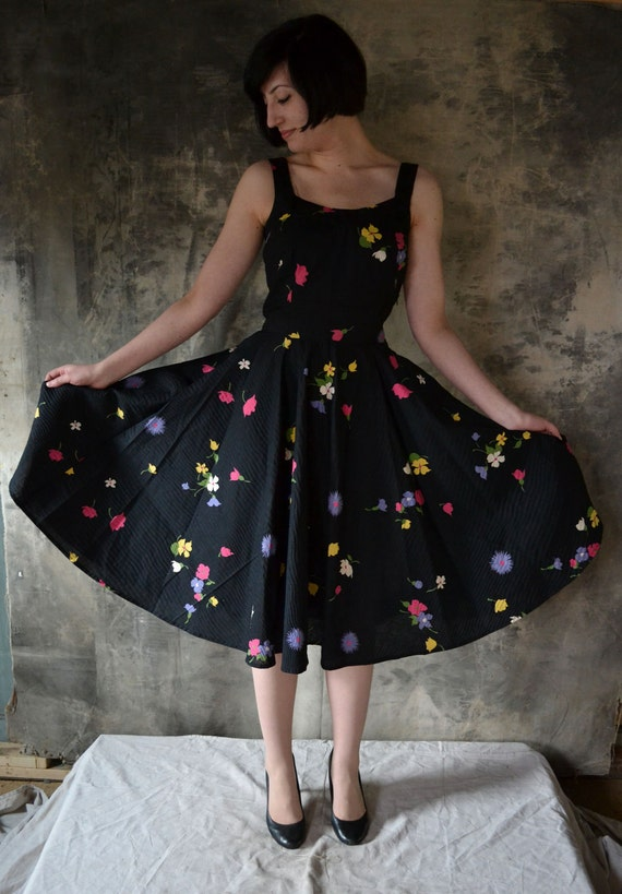 Handmade by Petrune Black Floral 1950's Inspired Dress, Vintage Fabric