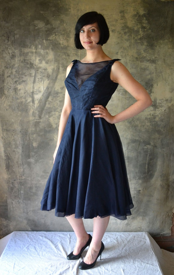 1950's Midnight Blue Organza & Taffeta Party Dress