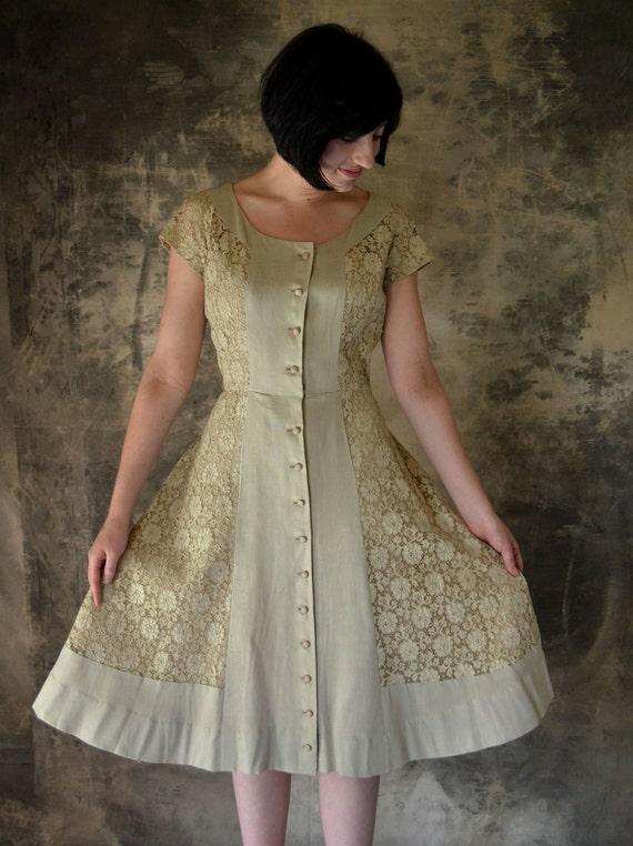 Hattie Carnegie 1940's Taupe Lace & Linen Party Dress