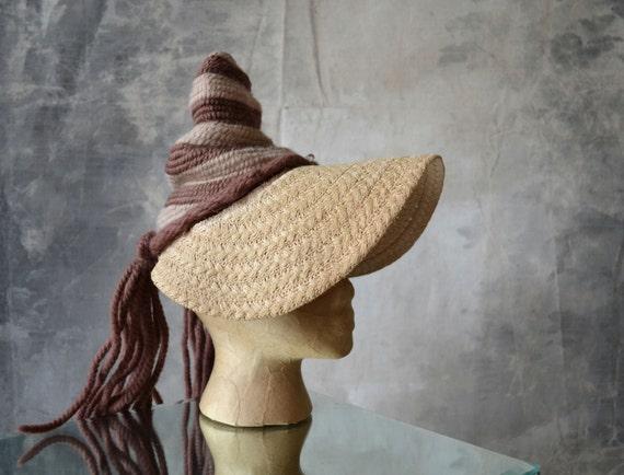 Vintage Hat 1940's Ponytail Striped Pointy Straw/Knit