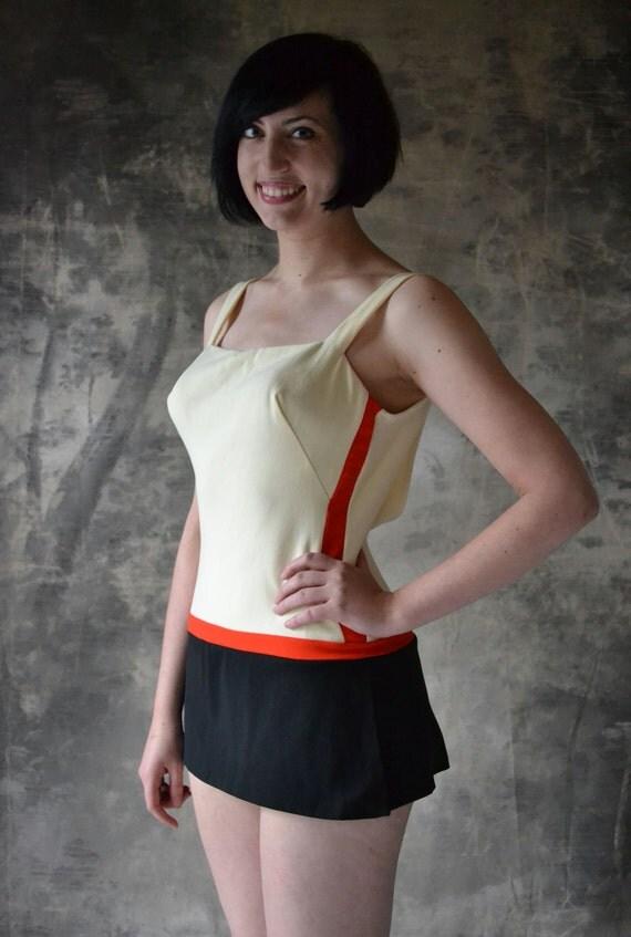 Color blocked 1960s Skirted Swim suit, by Marie Reid