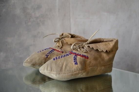 1920s Paiute Buckskin Leather Moccasins