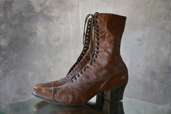 Victorian Boots, Brown Leather