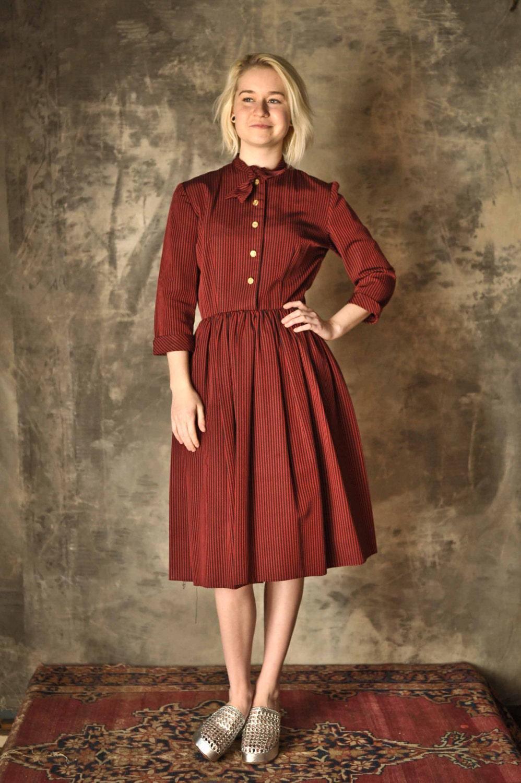1940s Red Stripe Jaunty School Teacher Dress