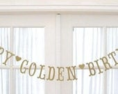 Ships Priority.  Antique Gold HAPPY GOLDEN BIRTHDAY Banner. Happy Birthday.  Antique Gold Shimmer.  5280 Bliss.