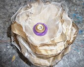 Metallic Gold and Cream Tulle Fabric Flower with Vintage Button Center
