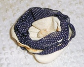 Chiffon and Leather Hair Clip Navy Blue Polka Dot and White Leather