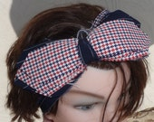Vintage Polyester Fabric Hair Bow Red White Blue Ribbon