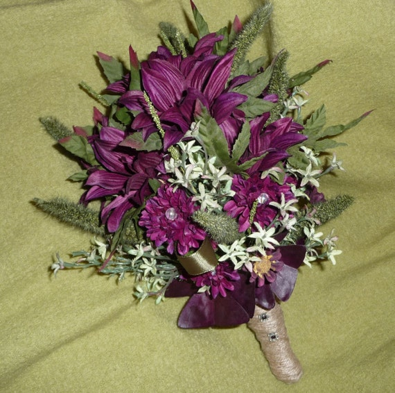 Reserved for Jessica - Bride, Groom and Wedding Party Flowers - Woodland Silk Wine Purple and Green -Deposit