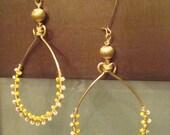C A L I S T A - Gold Drop Shaped Dangling  Beaded Earrings