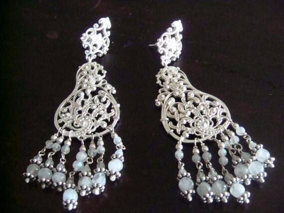 TIFFANY -  Sterling Silver Cascadining Moonstone Chandelier Earring