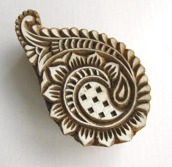 Carved Wood Block Stamp for textile Printing