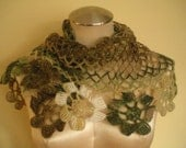 PROMOTION/ FREE Necklace/ Trendsetting Shimmering Green Crochet Mohair Mini Shawl/Scarf.  So Unique and Chic
