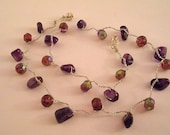 Amethyst and Crystals on Crocheted Chain with a magnetic clasp