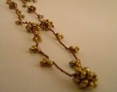 Brown Iris Berry Long Necklace/ Crochet Silk