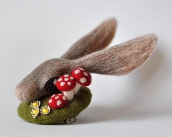Rabbit Fascinator with Mushrooms and Vintage Flowers