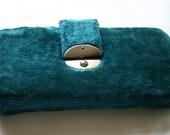 Blue Plush Velvet Needlecase with Buttonhooks/Bodkins Antique