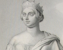 Queen Victoria Antique Engraving