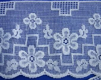 Daisy Motif Wide Cotton Lace Trim Vintage