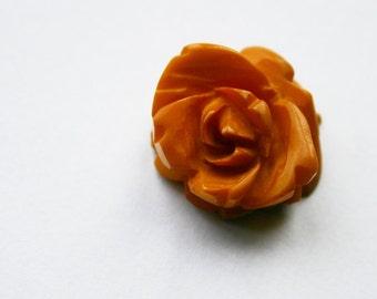 Butterscotch Bakelite Carved Rose Pendant 1930s