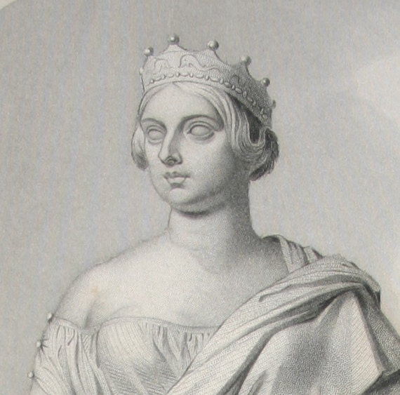 Queen Victoria Antique Engraving