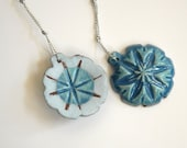 Christmas tree ornament blue handmade double sided ceramic - gift wrapped set of 2