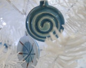 Double sided blue ceramic Christmas decoration at sale price.