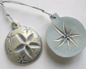 White blue star ceramic Christmas tree decoration flower ornament - gift wrapped set of 2