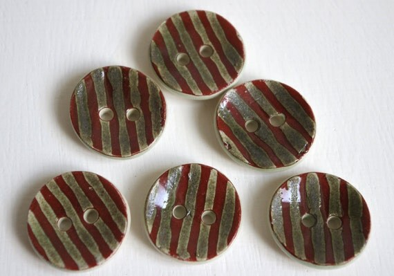 6 ceramic buttons rust red metallic green pin stripe.