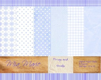 INSTANT DOWNLOAD - Digital Papers Scrapbooking Backgrounds Blue, Plaid, Baby Boy, Argyle, Dots, Gingham Printable 12x12  jpg
