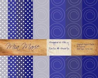 INSTANT DOWNLOAD - Digital Papers Scrapbooking Backgrounds navy, midnight, slate swiss dots, polka dots swirls Printable 12x12 jpg