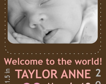 Modern Photo Birth Announcement - Welcome to the World