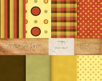 INSTANT DOWNLOAD - Digital Papers Scrapbooking Backgrounds fall, harvest, green, gold, orange, plaid, stripes dots Printable 12x12 jpg