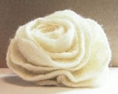 Ponytail Felted white rose, ooak, eco friendly, wool flower, gift wrap from Europe with love, gift for Mothers day, Weddings, Proms, and Celebrations idea