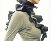 Felted scarf ruffle ombre grey gray taupe warm for her woman winter fashion
