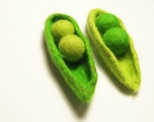 Two Felted Pea Pod, any color, custom order, from Europe with love, dreamt, EtsyEuro for Euro week